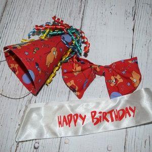 LOT Build A Bear HAPPY BIRTHDAY Bow Tie Hat Sash
